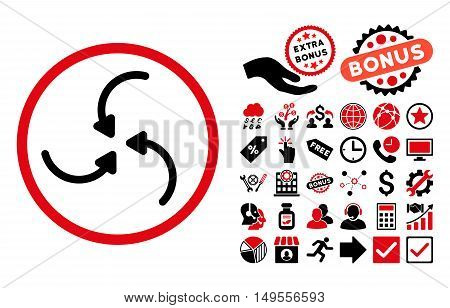 Vortex Arrows icon with bonus images. Glyph illustration style is flat iconic bicolor symbols, intensive red and black colors, white background.