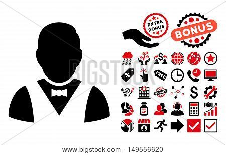 Waiter icon with bonus images. Glyph illustration style is flat iconic bicolor symbols, intensive red and black colors, white background.