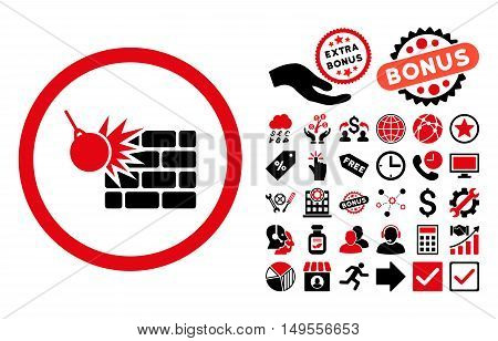 Wall Destruction icon with bonus pictograph collection. Glyph illustration style is flat iconic bicolor symbols, intensive red and black colors, white background.