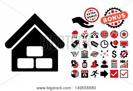 Warehouse pictograph with bonus symbols. Glyph illustration style is flat iconic bicolor symbols, intensive red and black colors, white background.