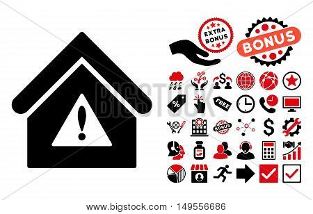 Warning Building pictograph with bonus design elements. Glyph illustration style is flat iconic bicolor symbols, intensive red and black colors, white background.