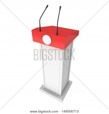 3d Speaker Podium. White and Red Tribune Rostrum Stand with Microphones. 3d render isolated on white background. Debate press conference concept