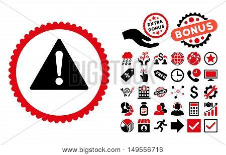 Warning pictograph with bonus pictogram. Glyph illustration style is flat iconic bicolor symbols, intensive red and black colors, white background.