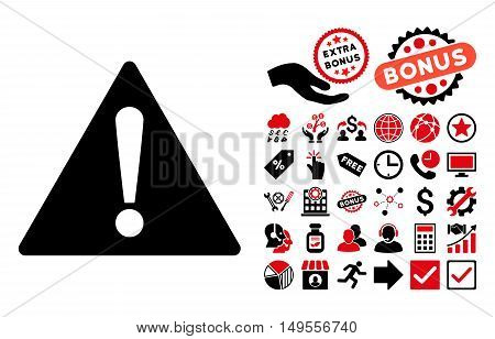 Warning icon with bonus pictogram. Glyph illustration style is flat iconic bicolor symbols, intensive red and black colors, white background.