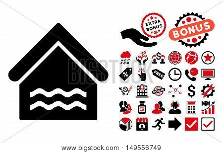 Water Pool pictograph with bonus clip art. Glyph illustration style is flat iconic bicolor symbols, intensive red and black colors, white background.