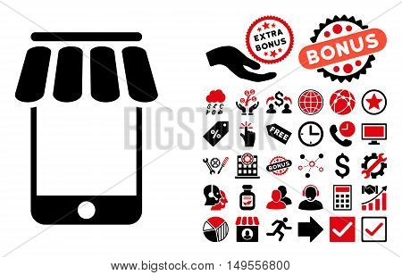 Webstore icon with bonus elements. Glyph illustration style is flat iconic bicolor symbols, intensive red and black colors, white background.