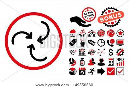 Whirl Arrows icon with bonus pictures. Glyph illustration style is flat iconic bicolor symbols, intensive red and black colors, white background.