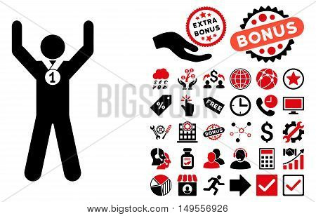 Winner Hands Up pictograph with bonus icon set. Glyph illustration style is flat iconic bicolor symbols, intensive red and black colors, white background.