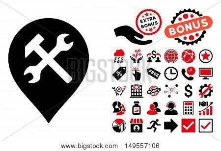 Workshop Map Marker icon with bonus pictogram. Glyph illustration style is flat iconic bicolor symbols, intensive red and black colors, white background.