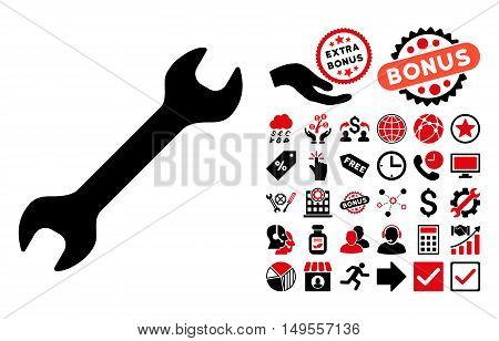 Wrench icon with bonus symbols. Glyph illustration style is flat iconic bicolor symbols, intensive red and black colors, white background.