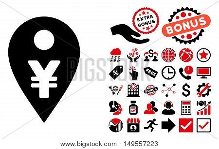 Yen Map Marker icon with bonus pictures. Glyph illustration style is flat iconic bicolor symbols, intensive red and black colors, white background.