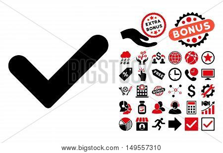 Yes pictograph with bonus pictogram. Glyph illustration style is flat iconic bicolor symbols, intensive red and black colors, white background.