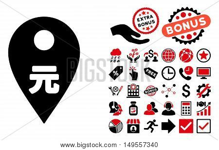 Yuan Map Marker pictograph with bonus clip art. Glyph illustration style is flat iconic bicolor symbols, intensive red and black colors, white background.