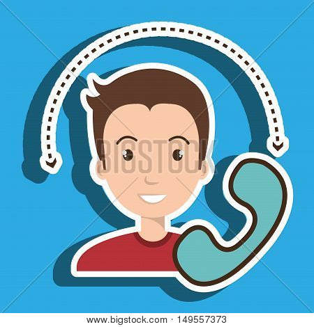 man telephone call retro vector illustration eps 10