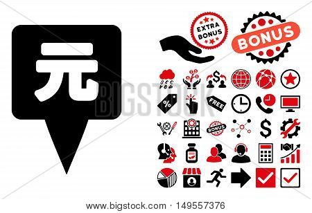 Yuan Map Pointer pictograph with bonus pictogram. Glyph illustration style is flat iconic bicolor symbols, intensive red and black colors, white background.
