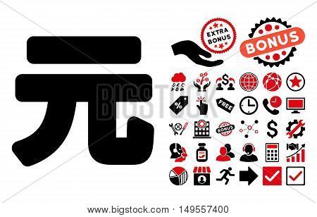 Yuan Renminbi pictograph with bonus icon set. Glyph illustration style is flat iconic bicolor symbols, intensive red and black colors, white background.