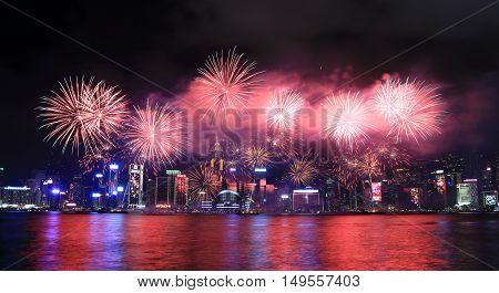 HONG KONG - FEBRUARY 09 2016 - Fireworks celebrating the chinese new year. Lunar New Year Fireworks Display in Hong Kong is an annual event to celebrate the Chinese New Year.