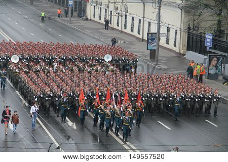 Moscow, Russia - May 9, 2012: Celebration Of The Victory Day (wwii). Solemn Marching Of Soldiers.