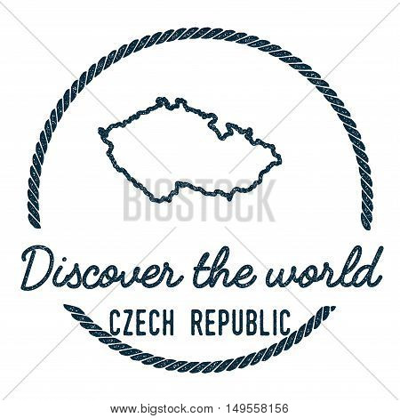 Czech Republic Map Outline. Vintage Discover The World Rubber Stamp With Czech Republic Map. Hipster