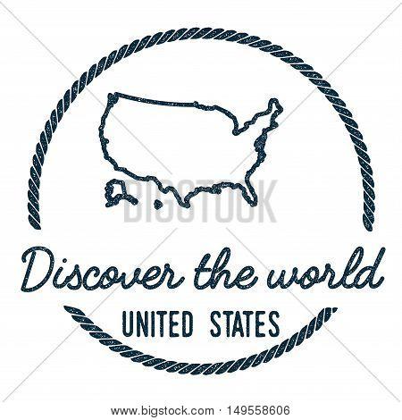 United States Map Outline. Vintage Discover The World Rubber Stamp With United States Map. Hipster S