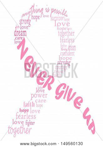 Words forming a pink ribbon for breast cancer. Powerful conceptual image