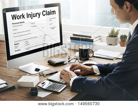 Work Injury Compensation Claim Form Concept