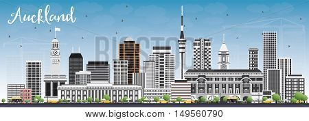 Auckland Skyline with Gray Buildings and Blue Sky. Business Travel and Tourism Concept with Modern Buildings. Image for Presentation Banner Placard and Web Site.