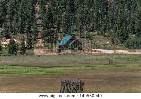 Duck Creek Village,Utah,USA - July 13, 2016 : View of the church of Duck Creek Village