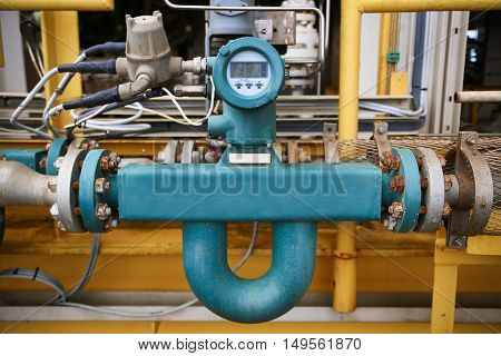 Flow transmitter or Flow transducer equipment function and sent PLC logic to processor in oil and gas production process,Electronic device in oil and gas industry and equipment under maintenance mode.