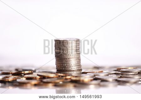 Malaysia coins stacked up isolated on white background