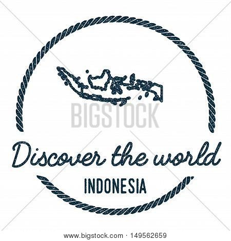 Indonesia Map Outline. Vintage Discover The World Rubber Stamp With Indonesia Map. Hipster Style Nau
