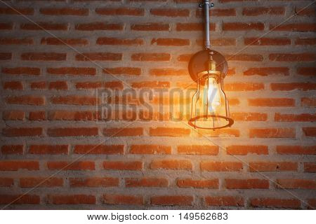 Vintage or retro lamp on old wall in home, Feeling romantic in old home with retro light, Lighting equipment in interior home with dark light picture style, Retro or vintage design lighting equipment.