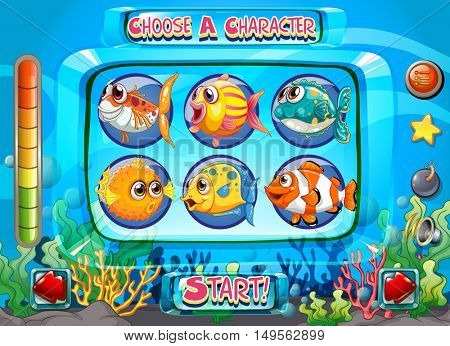 Computer game template with fish as characters illustration