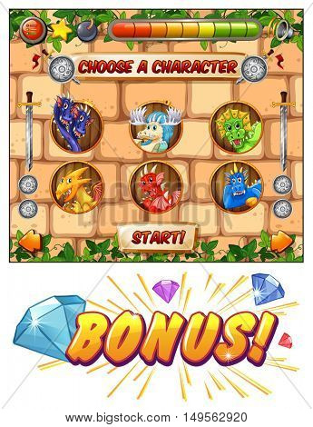 Computer game template with dragons as game characters illustration
