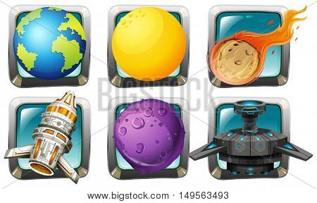 Spaceship and planets on square badges illustration