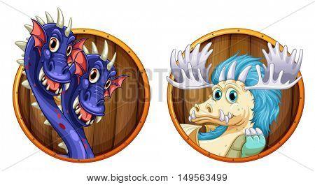 Dragons on wooden round badges illustration