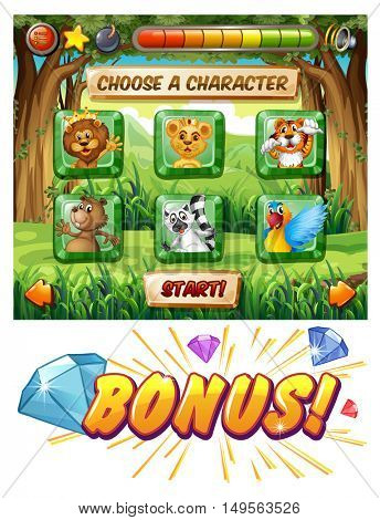 Jungle animal themed slot machine game