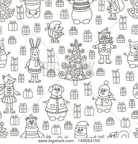 Christmas pattern. Vector pattern with doodle animals and gifts. Cute winter background. Fox bear rabbit cat hedgehog squirrel and snowman.