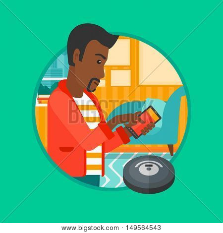 An african-american man controlling robot vacuum cleaner with his smartphone. Man holding remote control of robotic vacuum cleaner. Vector flat design illustration in the circle isolated on background
