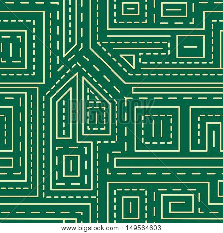 Abstract Lines Seamless Pattern On Green Background