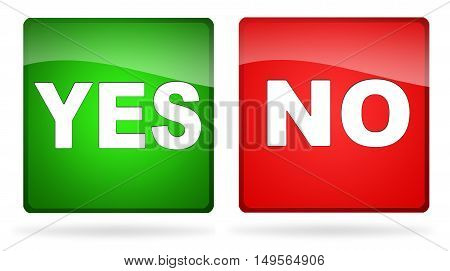 Two buttons yes and no, illustration in green and red