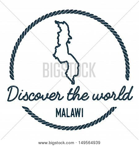Malawi Map Outline. Vintage Discover The World Rubber Stamp With Malawi Map. Hipster Style Nautical