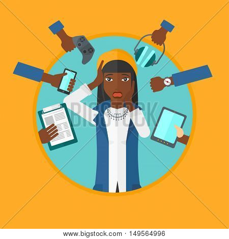 An african-american young woman in despair surrounded by many hands with gadgets around him. Woman using many electronic gadgets. Vector flat design illustration in the circle isolated on background.