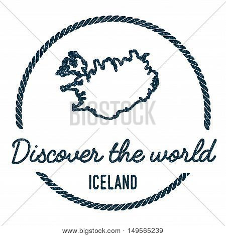 Iceland Map Outline. Vintage Discover The World Rubber Stamp With Iceland Map. Hipster Style Nautica
