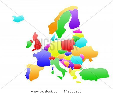 Abstract colored illustration map of Europe and nations