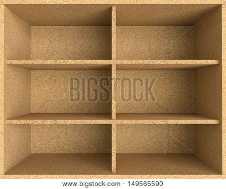 3D illustration empty chipboard shelf for display