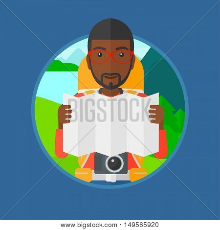 An african traveler with backpack and camera looking at map. Man travelling in mountains. Traveler searching right direction on map.Vector flat design illustration in the circle isolated on background