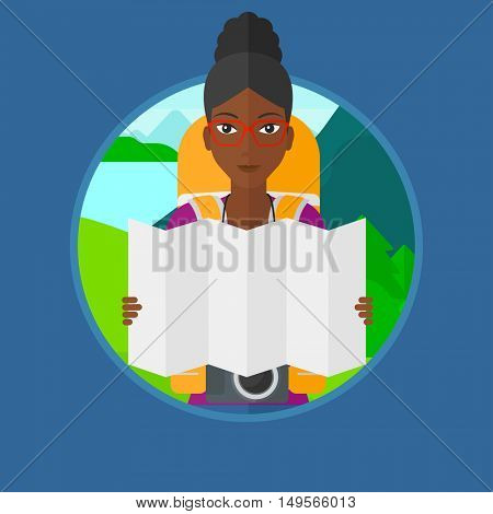 An african traveler with backpack and camera looking at map. Woman travelling in mountains. Traveler searching right direction. Vector flat design illustration in the circle isolated on background.