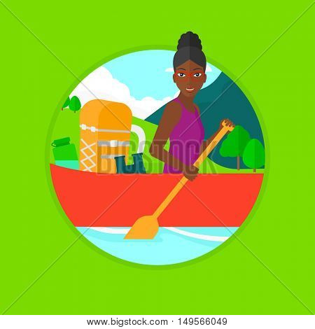 An african-american woman riding in a kayak with a skull in hands and some tourist equipment behind her. Woman traveling by kayak. Vector flat design illustration in the circle isolated on background.