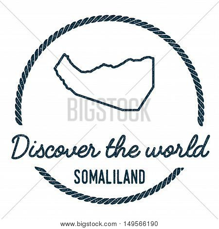 Somaliland Map Outline. Vintage Discover The World Rubber Stamp With Somaliland Map. Hipster Style N